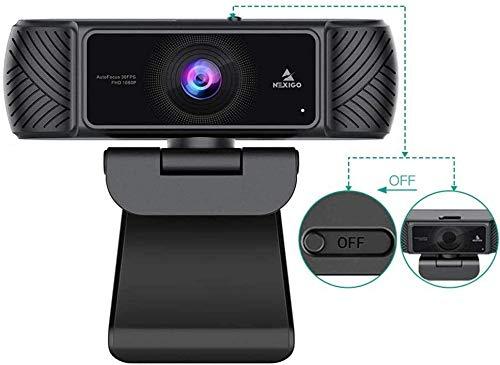 2021 AutoFocus 1080P Webcam with Microphone and Privacy Cover, NexiGo Business Streaming USB Web Camera, Plug and Play, for Online Class, Zoom Meeting Skype Facetime Teams, PC Mac Laptop Desktop