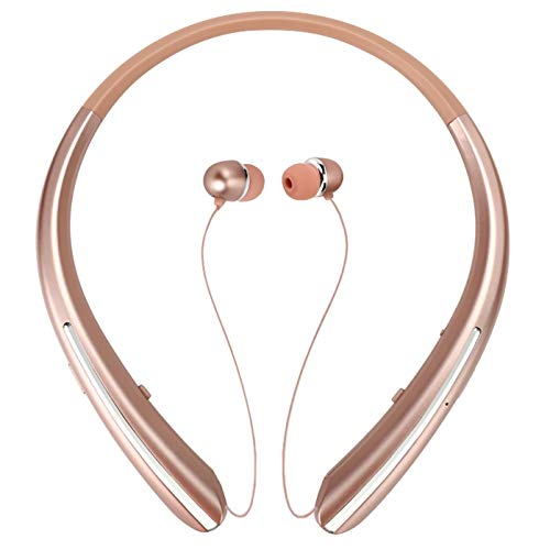 Bluetooth Neckband Headphones, Retractable Earbuds Wireless Headset Sports Noise Cancelling Stereo Earphones with Microphone Compatible with iPhone, Android, Samsung, iPad,PC (Rose)