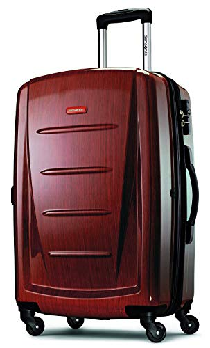 Samsonite Winfield 2 Hardside Expandable Luggage with Spinner Wheels, Burgundy, Checked-Medium 24-Inch