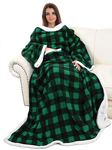 Catalonia Sherpa Wearable Blanket with Sleeves Arms,Super Soft Warm Comfy Large Fleece Plush Sleeved TV Throws Wrap Robe Blanket for Adult Women and Men,Green Buffalo Plaid Checkered