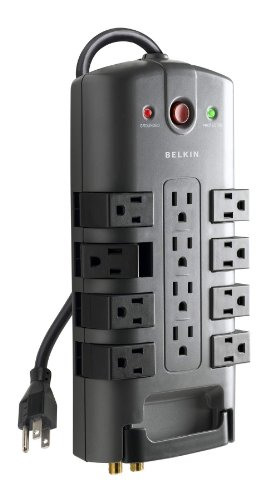 Belkin 12-Outlet Pivot-Plug Power Strip Surge Protector, 8ft Cord – Ideal for Computers, Home Theatre, Appliances, Office Equipment and More (4,320 Joules)