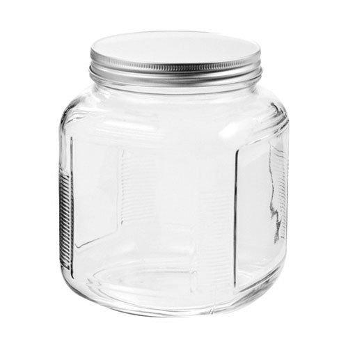 Anchor Hocking Cracker Jar Brushed Lid, 2 Quart, Clear