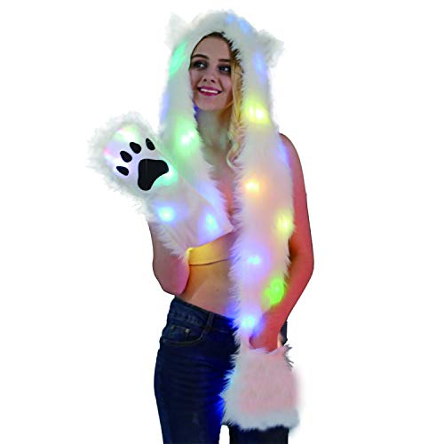 Animal Spirit Hood Faux Fur Hat with scarfs Full Pockets 3 in 1 Ear Flat Cap Hoodie Furry Gloves Party Costume (LED Cat)