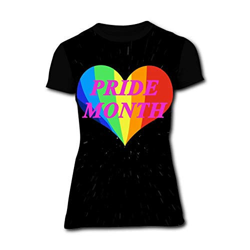 Love Heart Gay Pride Month Women's T-Shirt Graphic 3D Printed Short Sleeve T Shirt Tops Tees for Woman Black