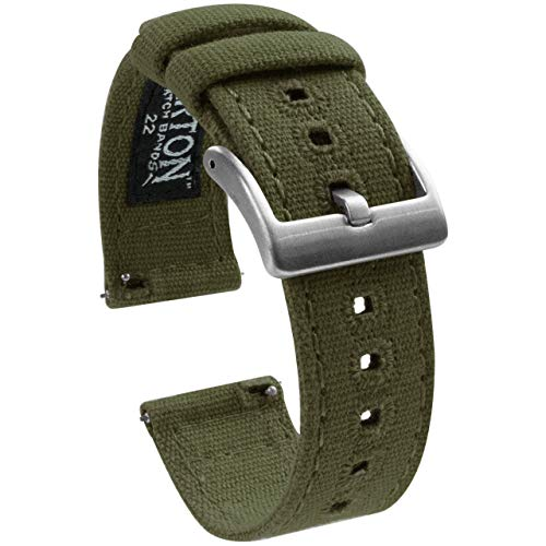 22mm Army Green - Barton Canvas Quick Release Watch Band Straps - Choose Color & Width - 18mm, 19mm, 20mm, 21mm, 22mm, 23mm, or 24mm