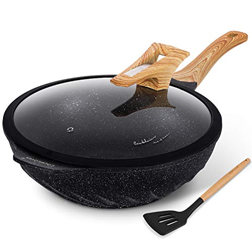 Chinese Wok Nonstick Die-casting Aluminum Scratch Resistant 100% PFOA Free Induction Woks And Stir Fry Pans with Glass Lid 12.6Inch,5.9L,5.6lb - Black