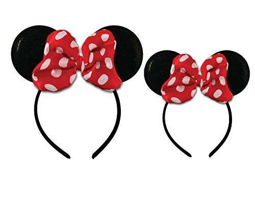 Disney Minnie Mouse Sparkled Ear Shaped Headband with Polka Dot Bow, Mommy and Me Set, Include One Adult Size and One for Little Girl Age 2-7
