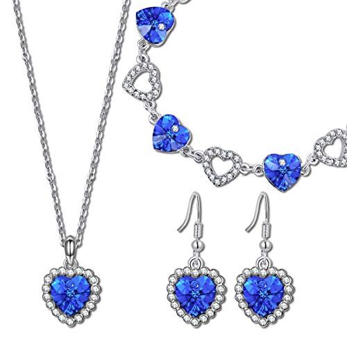 QIANSE Mothers Day Jewelry Set Gifts for Her for Women Heart of Ocean Sapphire for Women Swarovski Crystals Titanic Jewelry Women Heart Necklace Tennis Bracelet Earrings Set Birthday Gifts