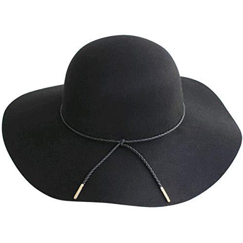 Lanzom Women Lady Retro Wide Brim Large Floppy Panama Hat Belt Wool Fedora Hat (A-Black, One Size)