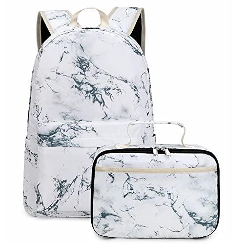 Marble School Backpack for Teen Girls Bookbag Middle School White Marble Lunch bag