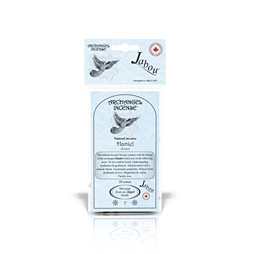 Jabou Archangel 100% Natural Incense Cones - Haniel (Love) - for Meditation, Yoga, Relaxation, Magic, Healing, Prayer & Rituals - 20 Cones - Each Lasting 30+ Minutes