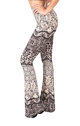 SATINA High Waisted Flare Palazzo Wide Leg Pants | Printed & Solid | Reg & Plus (Medium, Autumn Peach)