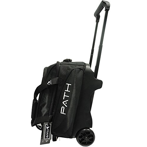 Pyramid Path Premium Deluxe Double Roller with Oversized Accessory Pocket Bowling Bag (Black/Black)