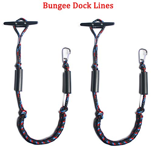 Botepon Marine Bungee Dock Lines, Boat Dock Rope, Jet Ski Accessories with Stainless Clip for for Jet Ski, SeaDoo, Yamaha WaveRunner, Kayak, Pontoon Boat, Dinghy (4 Feet)