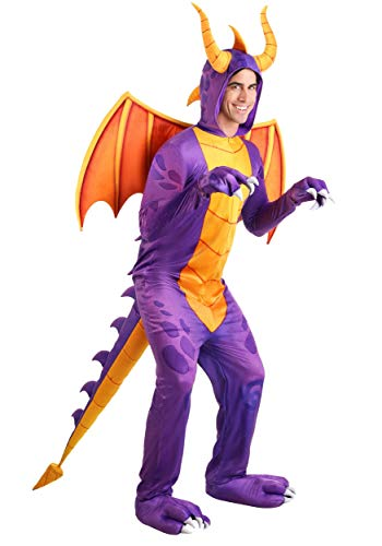 Spyro The Dragon Jumpsuit Costume Purple Dragon Video Game Costume for Adults X-Large