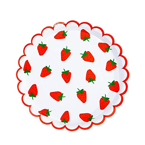 MaitianGuyou Disposable Gold Paper Plates - 40-Count Paper Plates, Party Supplies for Appetizer, Lunch, Dinner, and Dessert, 9 Inches in Diameter(Strawberry 2#)