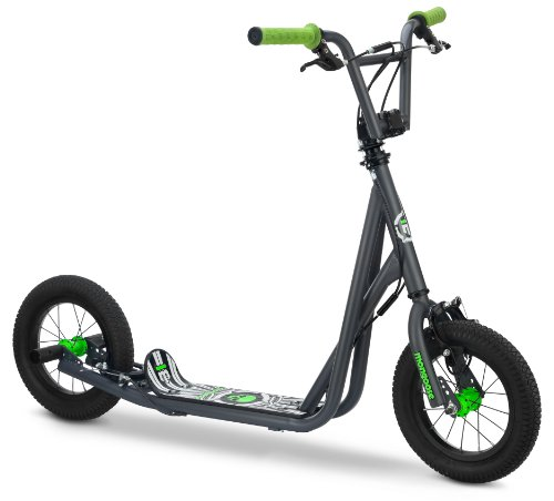 Mongoose Expo Scooter, Featuring Front and Rear Caliper Brakes and Rear Axle Pegs with 12-Inch Inflatable Wheels, Green/Grey