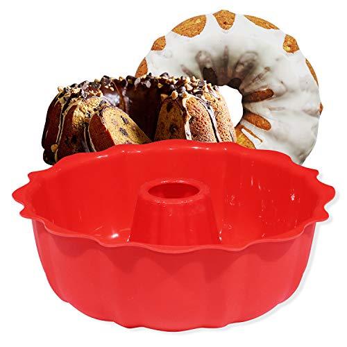 European Grade Silicone Cake Mold, Aokinle Non Stick Bakeware Fluted Tube Cake Pan for Jello,Gelatin, Silicone Molds for Cakes, 9 inch Baking Pan, BPA Free