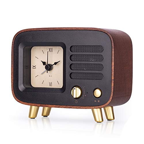 Retro Wooden Alarm Clock with Bluetooth Speaker, Rechargeable & Portable Wireless HQ MP3 Music Player for Smart Phone, Vintage Old Decorative Table Clocks Silent for Home, Bedroom, Nightstand, Office