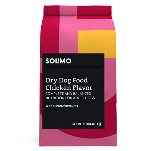 Amazon Brand - Solimo Basic Dry Dog Food, Chicken Flavor, 15 lb bag (Trial Size)