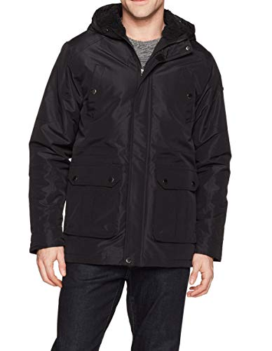 English Laundry Men's Midweight Parka with Faux Sherpa Lining, Black, XL