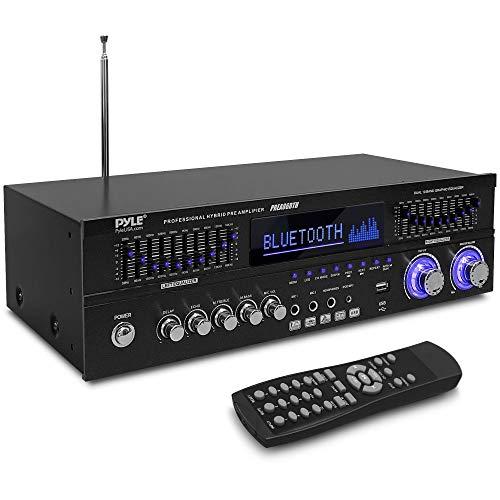 Bluetooth Hybrid Stereo Home Pre-Amplifier - Home Audio Rack Mount Desktop Stereo Pre-Amplifier Receiver w/Radio, USB/AUX/RCA/Mic, Optical/Coaxial, AC-3, DVD Inputs, Dual 10 Band EQ - Pyle PREA86BTH