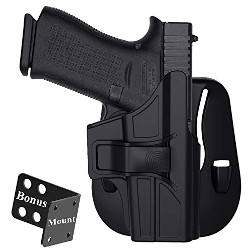 OWB Paddle Holster for Glock 43X, Glock 43, Outside Waistband Tactical Gun Holster, Belt Carry Polymer G43 Holster, Adjustable Cant & Quick Release - Right Handed