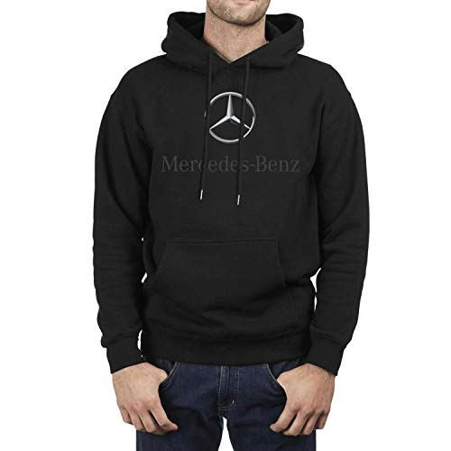 Young Men Black Hoodie Sweatshirt Mercedes-Benz-Logo- Fleece Long Sleeve Pullover