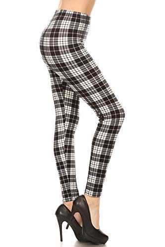 S576-OS Muted Plaid Print Fashion Leggings, One Size