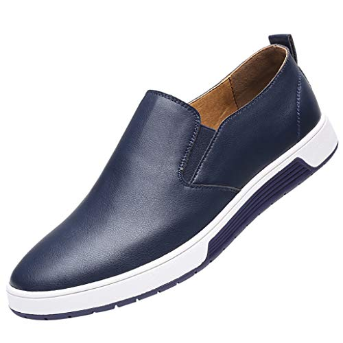 Men's Casual Slip On Faux Leather Dress Loafers Business Style Walking Driving Sneakers Flat Shoes by Lowprofile Blue