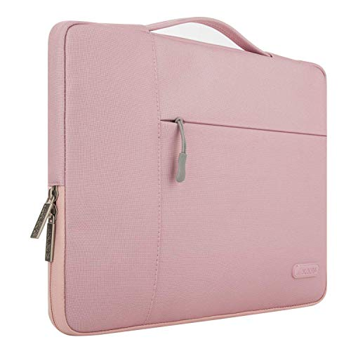 MOSISO Laptop Sleeve Compatible with MacBook Pro 16 inch with Touch Bar A2141, 15 15.4 15.6 inch Dell HP Asus Acer Samsung Sony Chromebook, Polyester Multifunctional Briefcase Bag, Pink