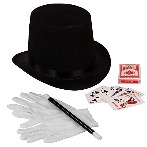 Funny Party Hats Magician Costume - 4 Pc Set, Magician Hat, Wand , Gloves & Bonus Cards - Magician Kit for Older Children