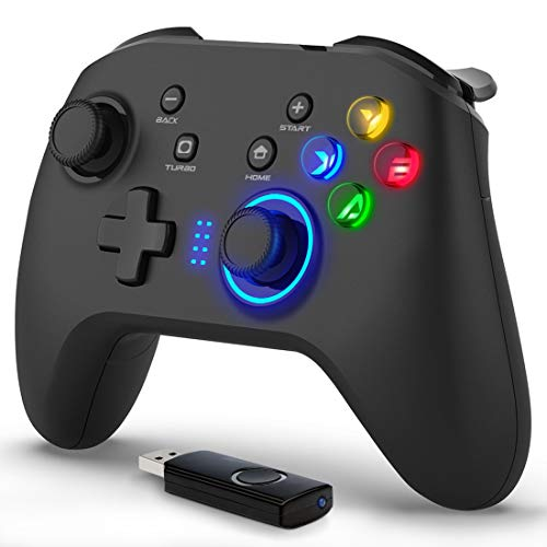 Forty4 Wireless Gaming Controller, Dual-Vibration Joystick Gamepad Computer Game Controller for PC Windows 7/8/10, PS3, Switch- Black