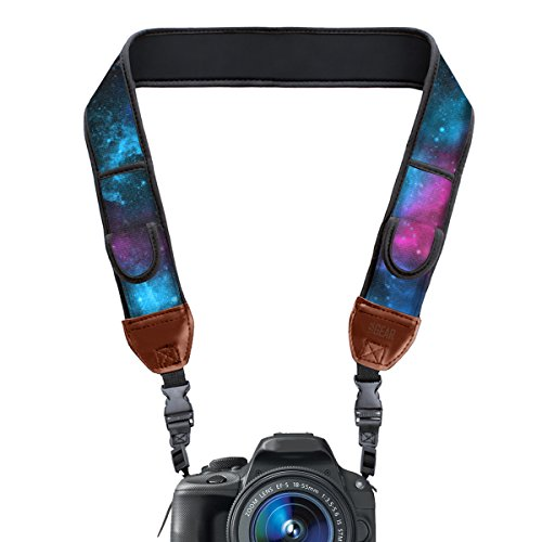USA GEAR TrueSHOT Camera Strap with Galaxy Neoprene Pattern , Accessory Pockets and Quick Release Buckles - Compatible With Canon , Fujifilm , Nikon , Sony and More DSLR , Mirrorless , Cameras