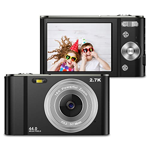 Digital Camera 2.7K 44MP Camera, VAFOTON 2.8' LCD Rechargeable Mini Compact Pocket Camera with 16X Zoom for Adult Seniors Students Kids Beginner