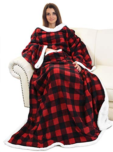 Catalonia Sherpa Wearable Blanket with Sleeves Arms,Super Soft Warm Comfy Large Fleece Plush Sleeved TV Throws Wrap Robe Blanket for Adult Women and Men,Red Buffalo Plaid Checkered