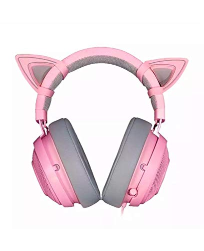 ZLDAN Crystal Pink Gaming Headphone Girl Cat Ear Stereo Wired Music Game Headset for PC Mobile Phone