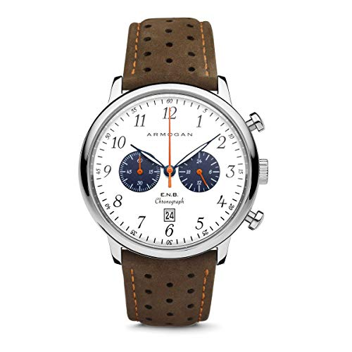Armogan E.N.B - Silvered Whited S82 - Men's Chronograph Watch Brown Suede Leather Strap