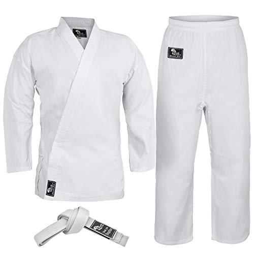 Hawk Sports Karate Uniform for Kids & Adults Lightweight Student Karate Gi Martial Arts Uniform Free Belt (White, 4 (5'6'' / 150lbs))