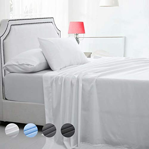 MAEVIS Sheet Set Hotel Luxury 18' Deep Pocket, 100% Polyester Microfiber Smooth Bedding, Super Soft Hypoallergenic Breathable, Resistant Fade Stain Wrinkle-4 Piece (Queen, White)