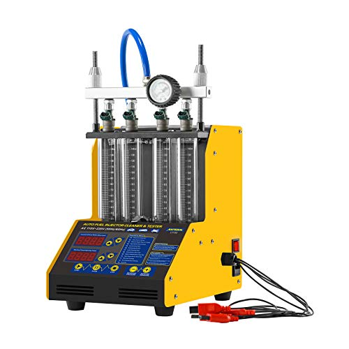 AUTOOL CT150 Automotive Mini Ultrasonic Fuel Injector Cleaner & Tester, Fuel Cleaning Machine with 4 Air Cylinder for Motorcycle Car