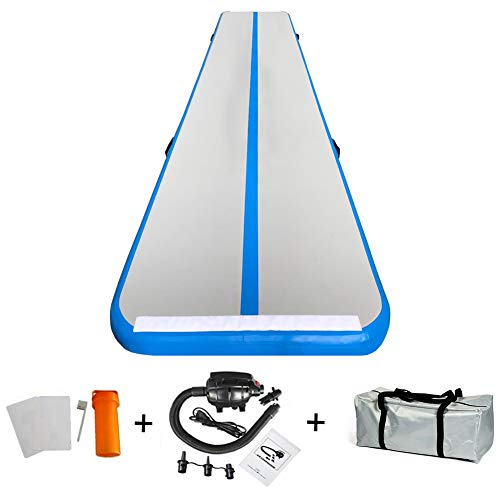 86 York 13ft Inflatable Tumble Air Track Mat with Pump for Gymnastics Home Use/Training/Cheer leading/Beach/Park Water/Parkour (13ftx3.3ftx4in, Blue)