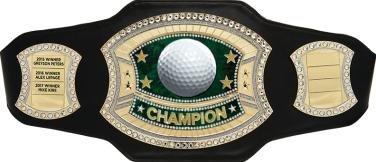 Crown Awards Golf Championship Belt - Perpetual Black Leather