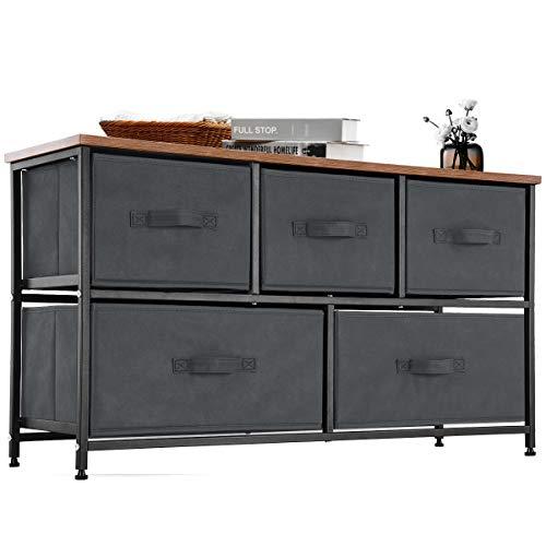 YOUDENOVA 5 Drawer Dresser Storage Organizer Chest, Fabric Dresser with Drawers TV Stand Short Ark Unit, Closet Organizer Steel Frame Cabinet for Living Room, Bedroom