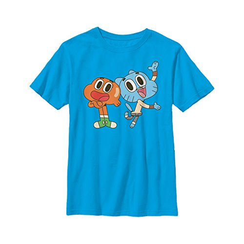 The Amazing World of Gumball Boys' Darwin and Gumball Grin Turquoise T-Shirt