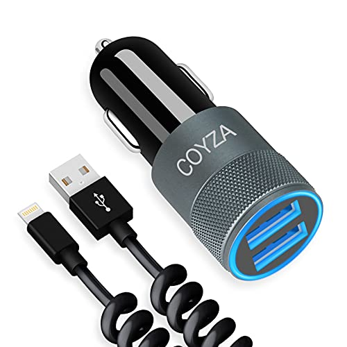 COYZA Fast Car Charger Adapter, Compatible with iPhone 12/11/Pro Max/Pro/Mini/X/XS/XS MAX/XR/SE 2020/8 Plus/8/7 Plus/7/6s/6/iPad Air 3/Mini, 3.1A Dual USB Ports with Coiled Charging Cable Cord