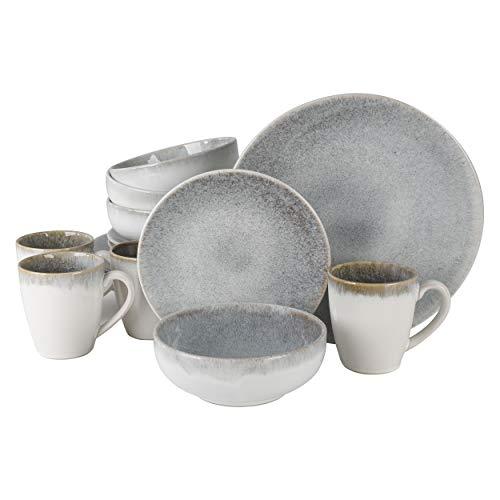 Gibson Elite Kashmir Round Reactive Glaze Stoneware Dinnerware Set, Service for 4 (16pcs), White