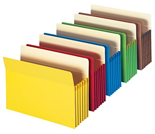 Smead File Pocket, Straight-Cut Tab, 5-1/4' Expansion, Letter Size, Assorted Colors, 5 per Pack (73836)