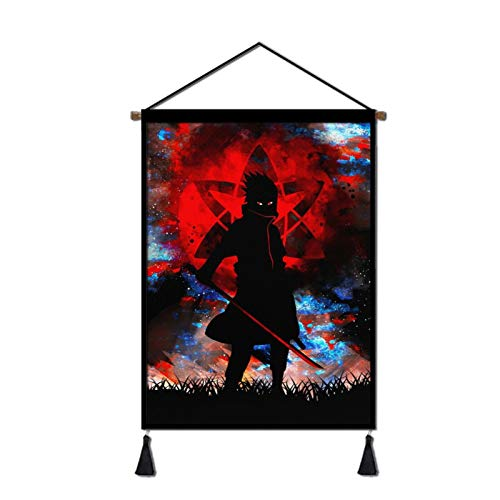 KKSopv Naruto Hanging Poster Canvas Wall Art, Naruto Anime Sasuke Tapestry Plush Scroll With Tassels, Decoration For Home, Anime Fans Gift, Office, Comic Exhibition 18x26 in, One Size