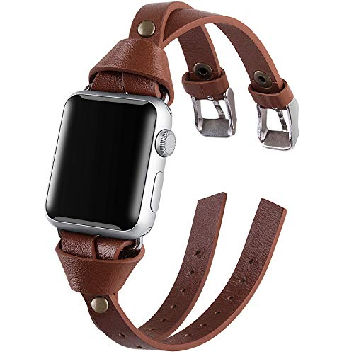 Vikoros Leather Bands Compatible Apple Watch Band Series 5 4 40mm Series 3/2/1 38mm iwatch, Double Twist Handmade Vintage Natural Leather Bracelet Replacement Bracelet Straps Women